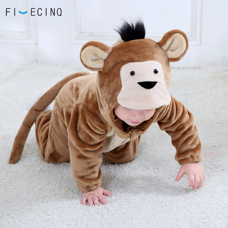 Animal Monkey Kigurumi Baby Winter Wear Festival Costume 1-3 Years Children Kid Cosplay Suit Funny Animal Onepiece Fantasia