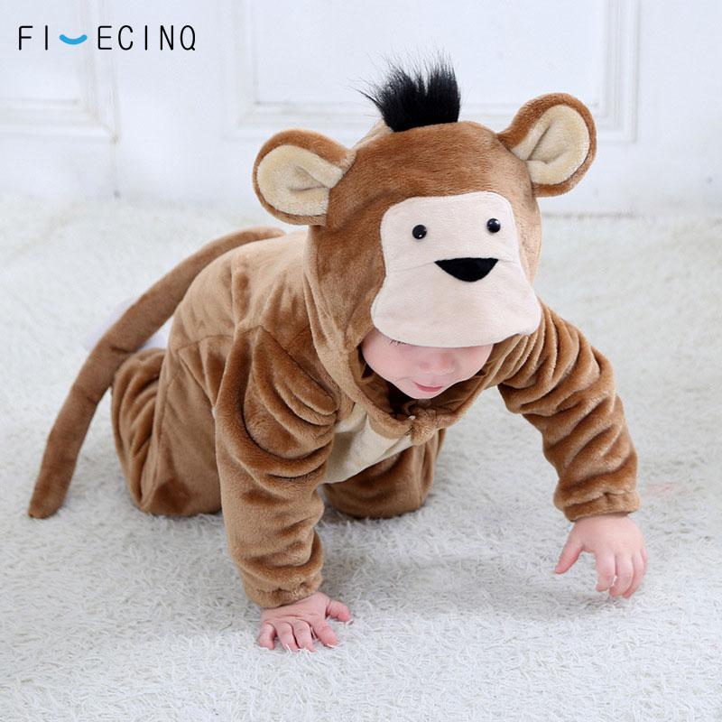 Animal Monkey Kigurumis Baby Winter Wear Festival Costume 1 3 Years Children Kid Cosplay Suit Funny Animal Onepiece Fantasia   - title=