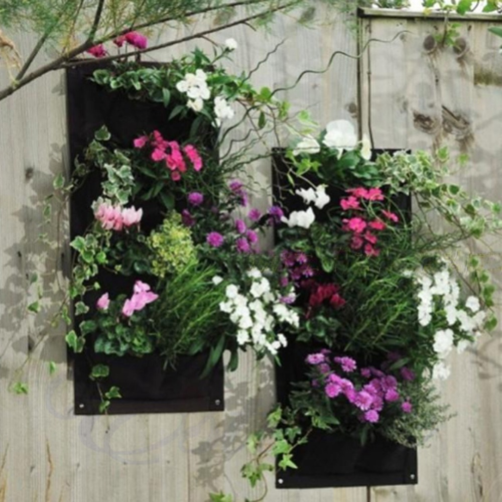 New 4pocket Indoor Outdoor Wall Balcony Garden Vertical Hanging Planter  Bagchina