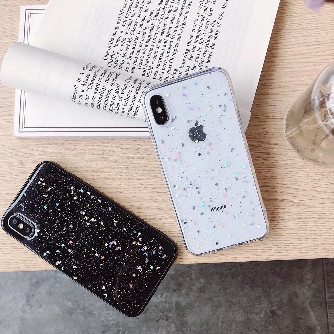 HTB1iVWkarj1gK0jSZFOq6A7GpXax - For Apple iPhone 11 Pro 6 6s 8 7 Plus XR 10 X XS Max 5S Cover Glitter Bling Star Moon Sequins Soft TPU Clear Silicone Phone Case