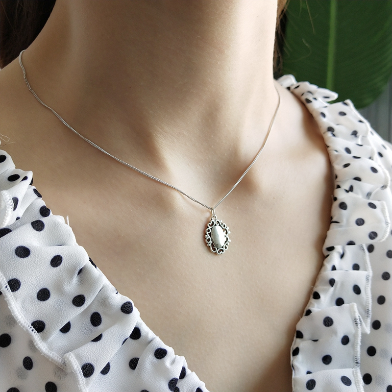 LouLeur 925 Sterling Silver Vintage Flower Lace Glossy Pendant Necklace Silver Fashion Exquisite Necklace For Women Fine Jewelry