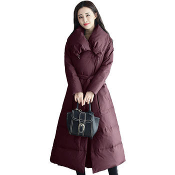 Fashion Elegant Long Winter Jacket Women Abrigo Mujer Big Pocket Maxi Coats Cotton Warm Female Jacket Black Parka Feminina C5113