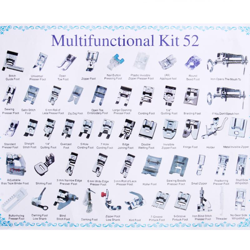 52 Pcs Sewing Machine Foot Domestic Industrial Sewing Machine Presser Foot Set Feet Kit Sewing Machine Accessories жидкая помада absolute new york velvet lippie 11 цвет avl11 poppy variant hex name fd3534