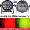 4 xLot Хорошее Качество Светодиодные Пар Свет Quad 18x12 Вт 4in1 RGBW Луч Мыть Dmx Par Can American Dj Пластиковые Плоские Светодиодные Огни Этапе Светодиодные Лампы