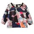 Estilo europeu Das Mulheres Impresso Pull-over Top curto O Pescoço Half-Grafite Bloco de Cor de manga Curta T-Shirt Outono Vestuário feminino