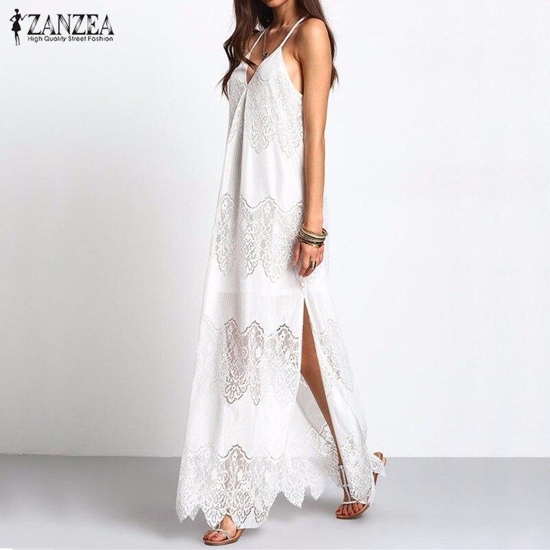 ZANZEA Women Boho Long Maxi Dresses 2016 Summer Vestidos Beach Wear Cream Deep V Neck Split Slip Sleeveless Dresses Plus Size