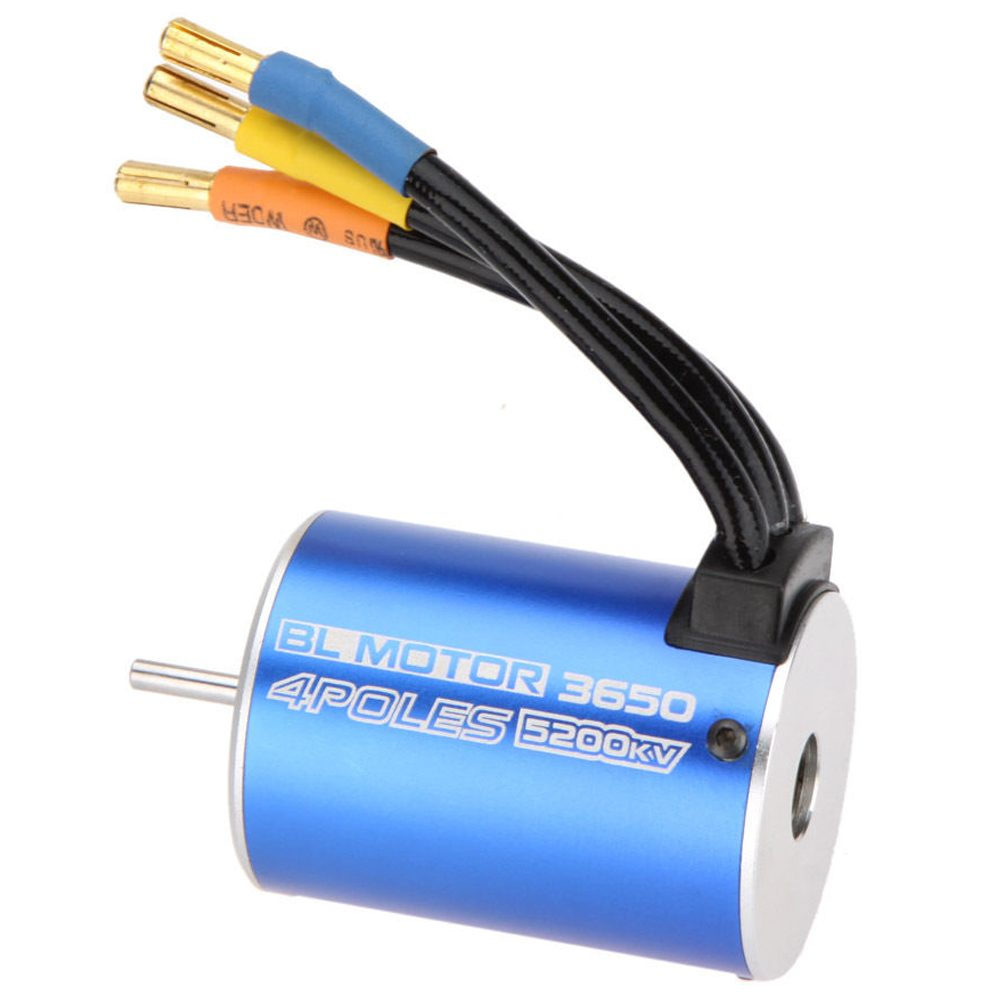 MACH 3650 4Poles 5200KV Brushless Motor for 1/10 RC Car Boat Blue 1 10 rc car 3650 senseless brushless 4300 3100 2050kv motor