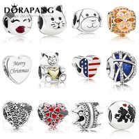 DORAPANG 2018 New 925 Sterling Silver Rose Crystal Valentine S Day Christmas Charms Bead Fit Bracelets