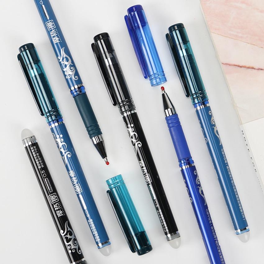 Erasable Gel Pen Refills Is Black Blue Ink Blue Magical Writing Pen Student Learning Stationery g 3126 kawaii small fresh style erasable gel pen refills is blue ink and black ink a magical writing neutral pen 4pcs lot