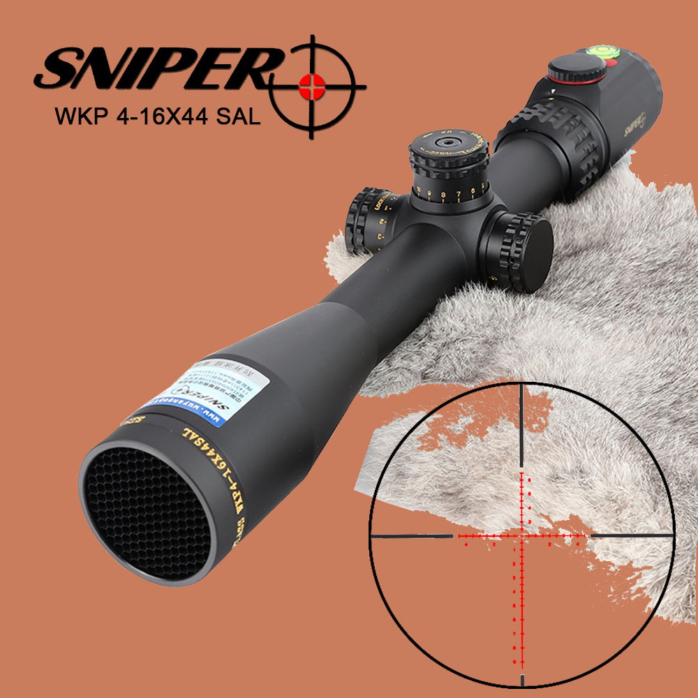 SNIPER WKP 4-16X44 SAL Hunting Riflescope Glass Etched Reticle RG Illuminated Side Parallax Sights with Bubble Level Rifle Scope sniper ck 4 16x50 fpsal hunting rifle scope side parallax adjustment glass etched reticle rg illuminated with bubble level
