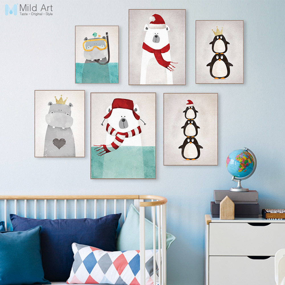 Kawaii Cartoon Dieren Polar Bear Hippo Poster Prints Nordic Kids Babykamer Wall Art Foto Woondecoratie Canvas Schilderij Custom