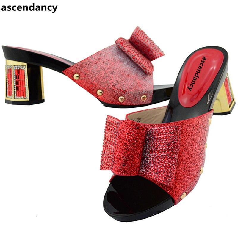 Pour Pourpre pourpre Strass Arrivée De Noir Lady Africain Italien rouge argent Partie Chaussures Nouvelle or 2018 Mariage Nigérian Parti Femmes Fvq5fwf