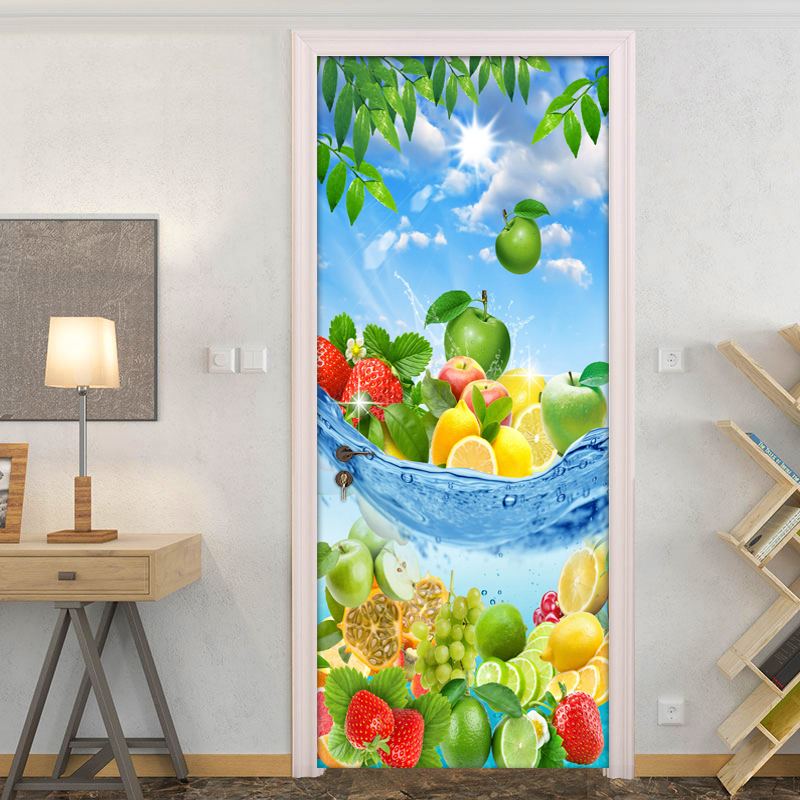 Fresh Fruit Modern 3D Living Room Kitchen Bedroom Door Sticker Mural PVC Self-adhesive Photo Mural Door Wallpaper Home Decor dsu retro door mural bedroom door home decor wall sticker