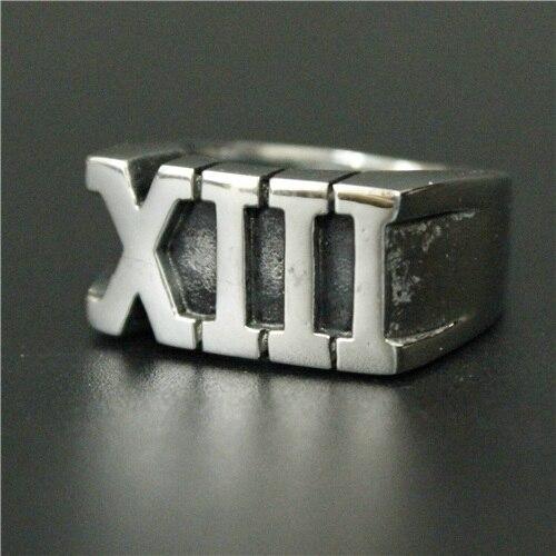 Новейшее римское цифра XIII Lucky 13 римское кольцо 316L из нержавеющей стали для мужчин мальчиков хит продаж крутое кольцо байкера