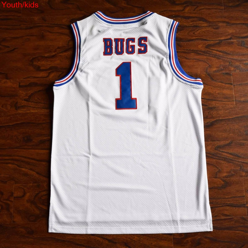 ddc2df10834040 Youth Kids  17 Kinds  Space Jam Bugs 1 Lola 10 Murray 22 Jordan 23 Tune  Squad Basketball Jersey Stitched White-in Basketball Jerseys from Sports ...