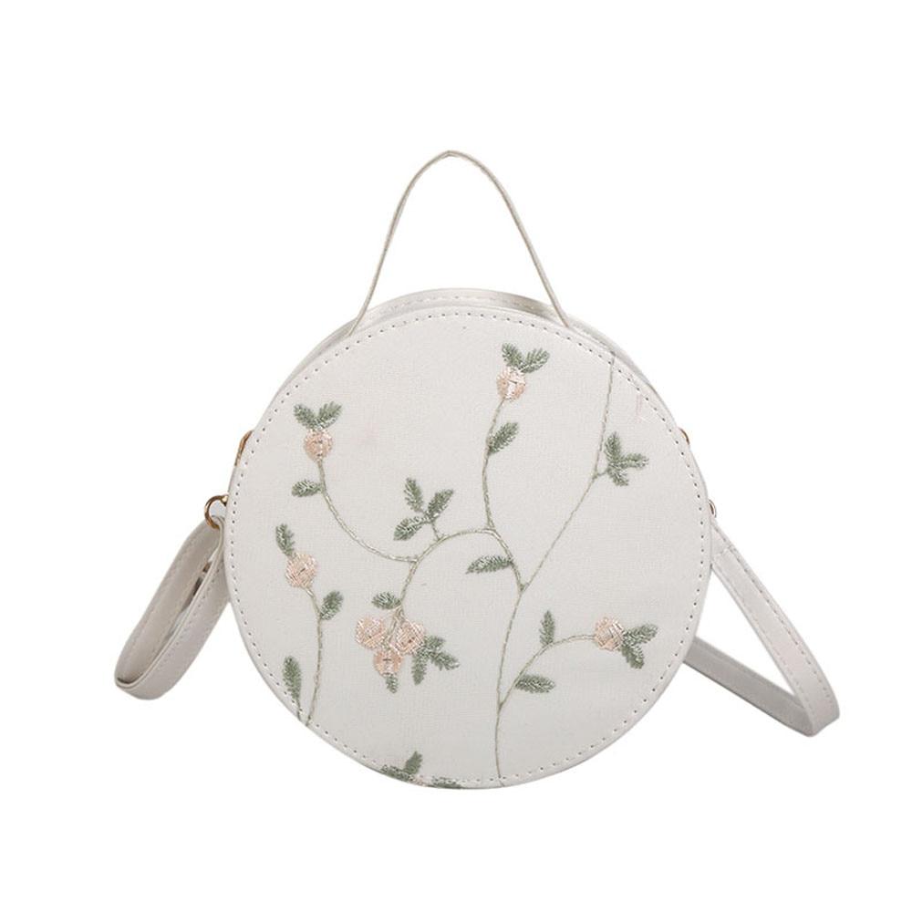 56784a86925d Embroidery Round Bag Handbag elegant Flowers Messenger Crossbody Bag Lady  Mini Shoulder Bags Bolsa Feminina Circle
