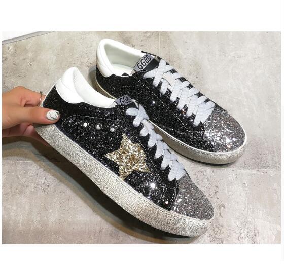 Mujeres otoño primavera leopardo mocasines 2018 oro lentejuelas Estrella zapatos planos mocasines de cuero del brillo brillante entrenadores