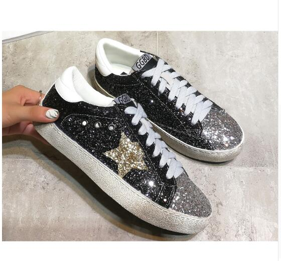 Women Autumn Spring Leopard Print Loafers 2018 Golden Sequins Star Flat Shoes Leather Moccasins Female Glitter Shining Trainers fashion tassels ornament leopard pattern flat shoes loafers shoes black leopard pair size 38