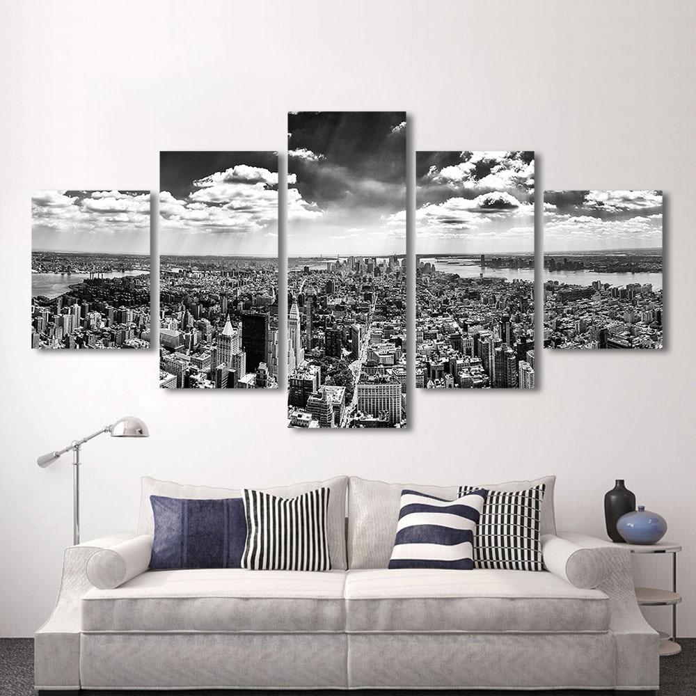 QKART 5 Panels Landscape Grey New York City Painting Canvas Art Wall ...