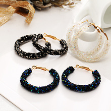 Women New Design Fashion Charm Bling Hoop Earrings For Shiny Crystal Hollow Round Circle Ear Jewelry