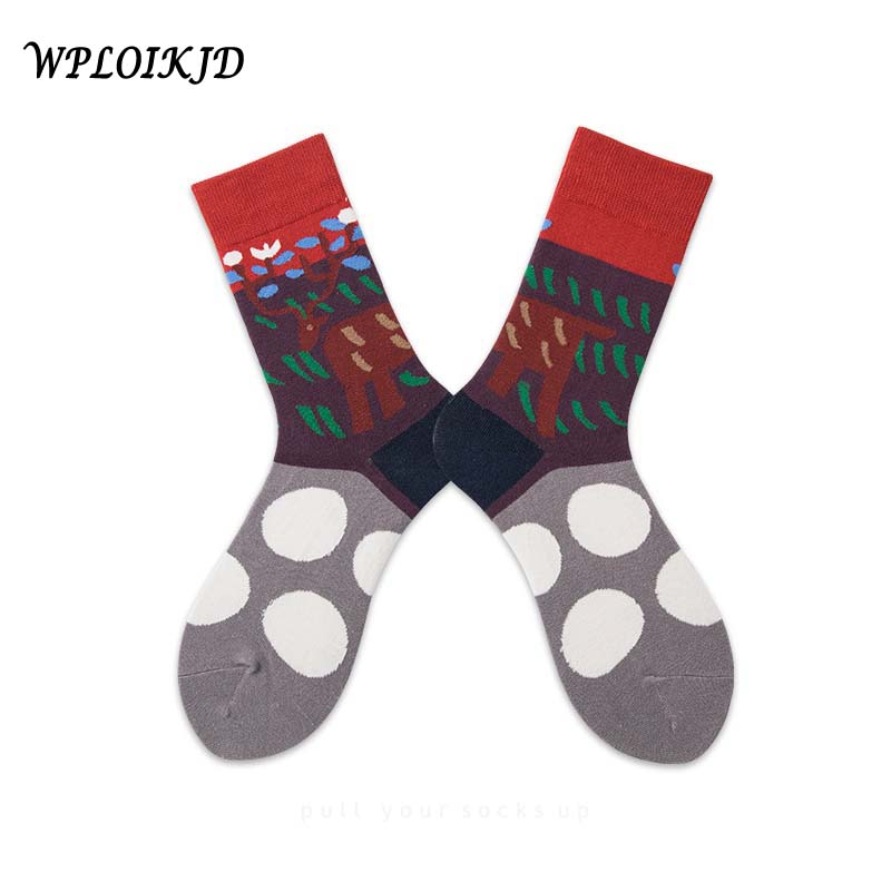 [WPLOIKJD]New Product Colorful Funny Couples Socks Harajuku Streetwear Hip Hop Calcetines Hombre Tide Sox For Men Women Gifts