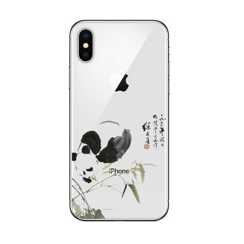 ตลกการ์ตูนแพนด้ากรณีโทรศัพท์สำหรับ iPhone 6 6s Plus 7 8 Plus Love กรณีหัวใจสำหรับ iPhone X 5 5 5S SE Soft TPU ซิลิโคน Coque