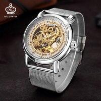 MG. ORKINA Mens Watch Big Case Skeleton Mechanical Male Clock Stainless Steel Mesh Band Erkek Kol Saati Automatic Wristwatches