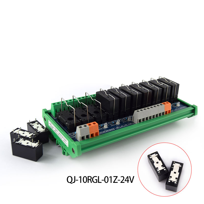 10-way Omron Single Relay Group Module 1NO+1NC 24V Electromagnetic Relay MCU Control Board Original Quality 10 pcs car spdt 5 pin 1no 1nc green indicator relay ceramic socket 80a 12v dc