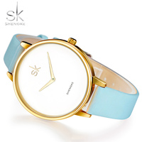 Shengke Women Watches Luxury Blue Macaron Color 2017 Women S Quartz Watch Feamale Genuine Leather Strap