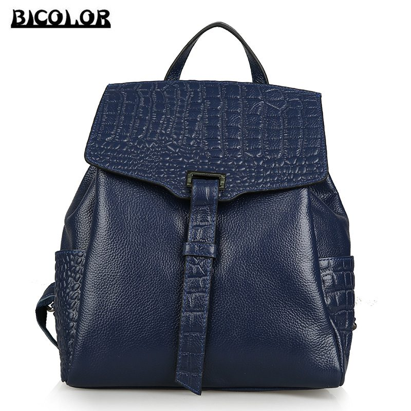 ФОТО BICOLOR Vintage Genuine Leather BackBags Crocodile Pattern Backpacks for Girl Back Bag for Women Casual Schoolbag for Teenagers