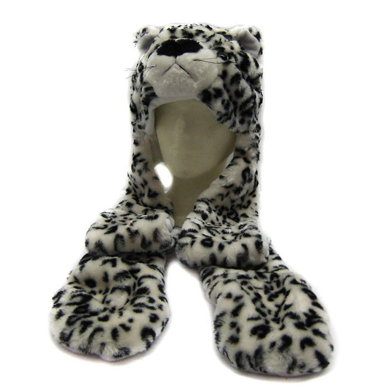 DOUBCHOW Cute Plush White Leopard Animal Hats with Paws Gloves for Womens Mens Teenagers Kids Boys Girls Winter Warm Beanie Cap cute bear paw plush gloves winter warm thermal children knitted gloves full finger mittens cartoon gloves