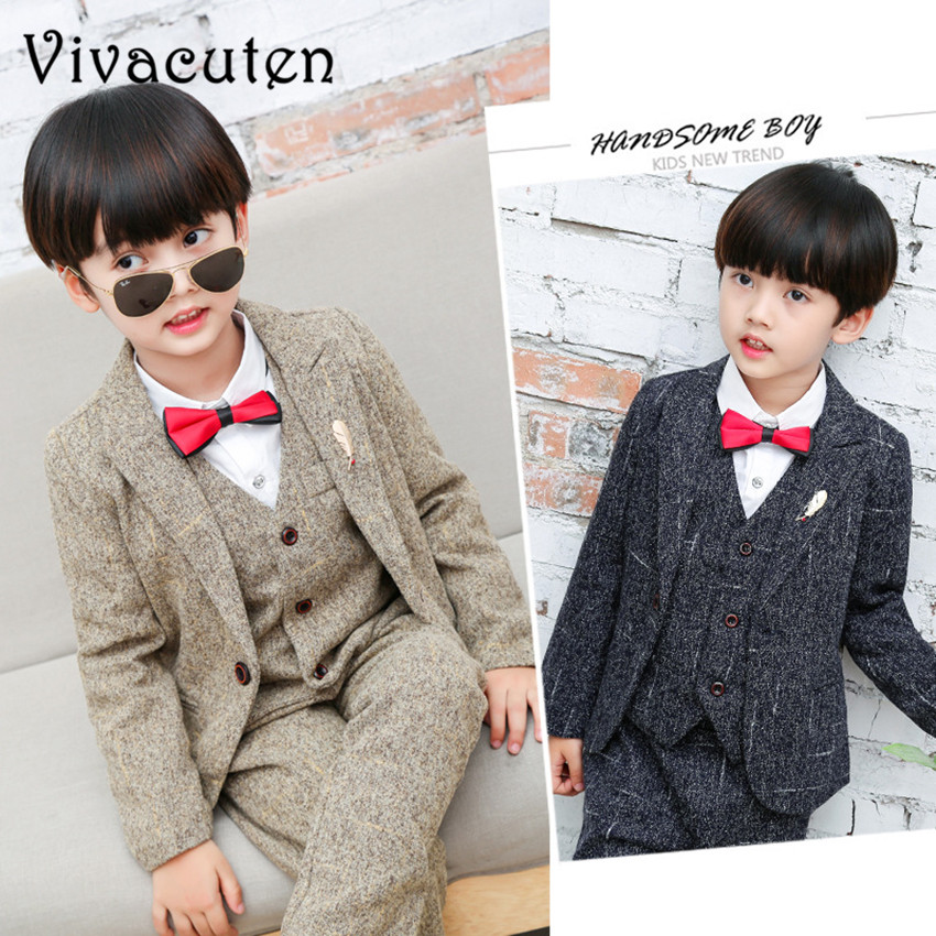 купить Boys Formal Suits For Weddings Kids Performance Party Blazer Vest Pants 3pcs Tuxedo Clothing Set Child Gentleman Costume F032 по цене 2227.6 рублей