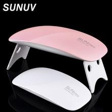 New SUNUV 6W Mini Pocket Nail Lamp  Sunmini Nail Dryer White Light LED UV Lamp Support USB Charger Cure UV LED Nail Gel Machine