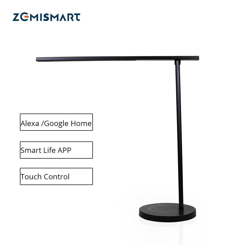 WiFi LED lámpara de escritorio regulable Alexa Google Voz de Siri vida inteligente Manual APP táctil negro Control de luz de mesa