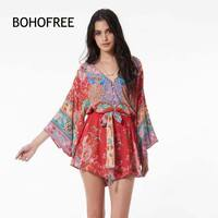 BOHOFREE Holiday Jumpsuits Mujer Vintage Floral Rompers V Neck Batwing Sleeve Cotton Jumpsuits Female