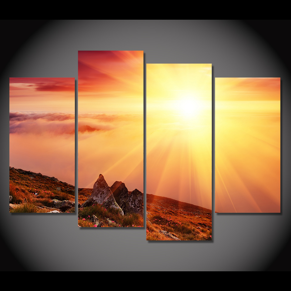 4 Piece Canvas Painting Morning Sunshie HD Printed Canvas Art Prints ...