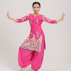 Индийский танец одежда для выступлений Болливуд Сари Топы Восточные Танцевальные Костюмы для женщин индийский народный танец Топы платье ...