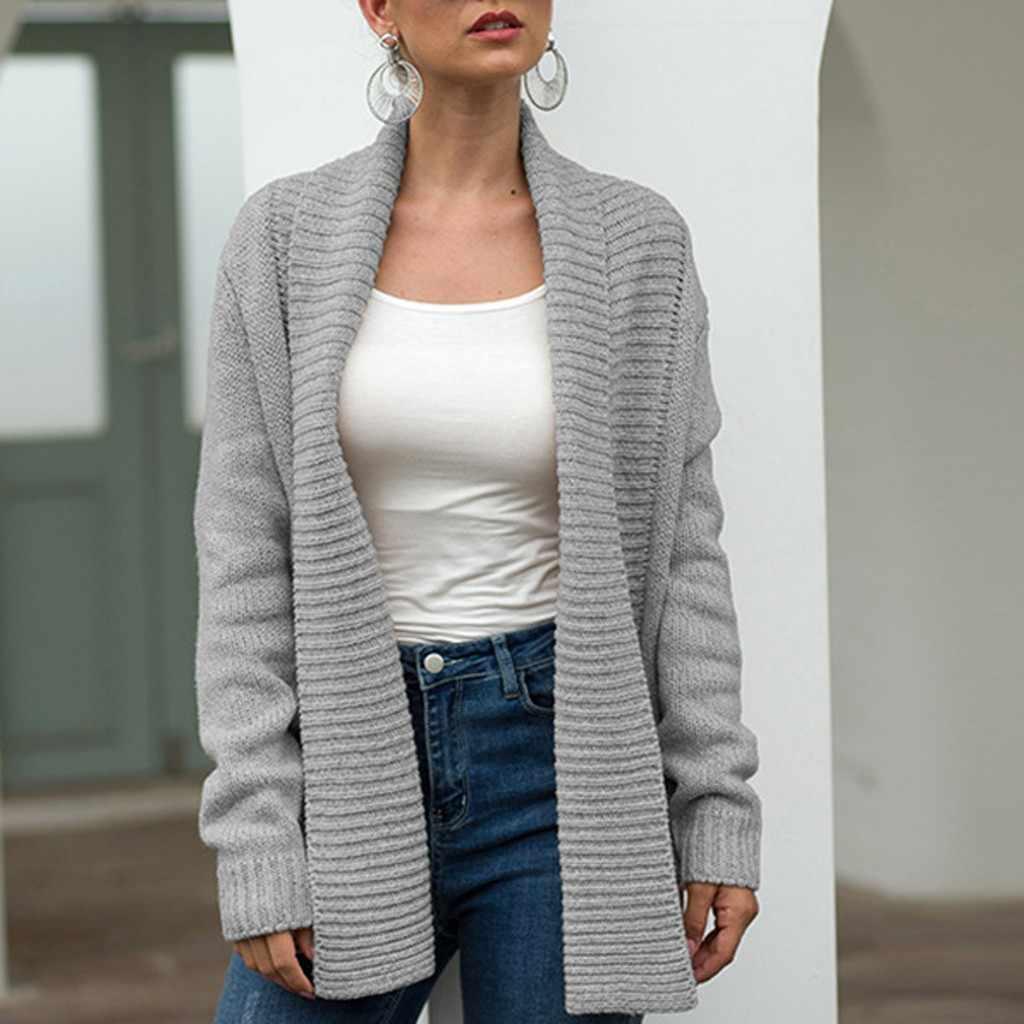 Женский Однотонный свитер с длинным рукавом, трикотажное пальто с карманами, блузка, модный свитер, женская одежда, sueters de mujer moda