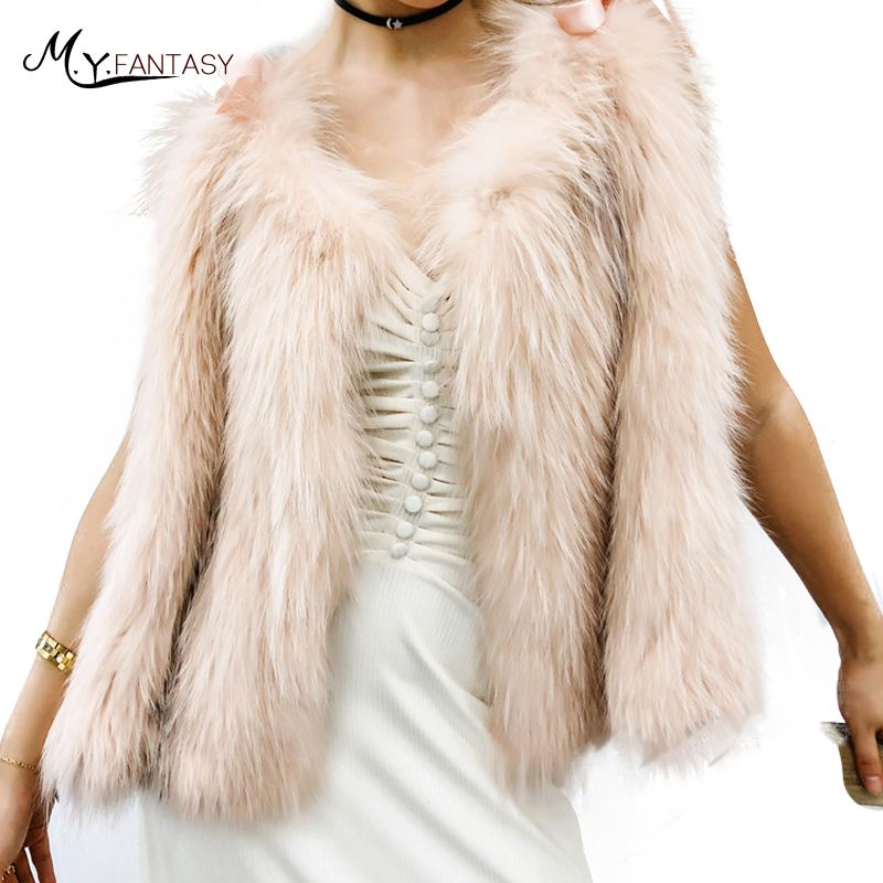 M.Y.FANSTY 2019 Women's Winter Real Fox Fur Coats Sleeveless Loss Bow Fox Fur Coat Short V Neck Vest Fox Fur Shawl Cloak Coats