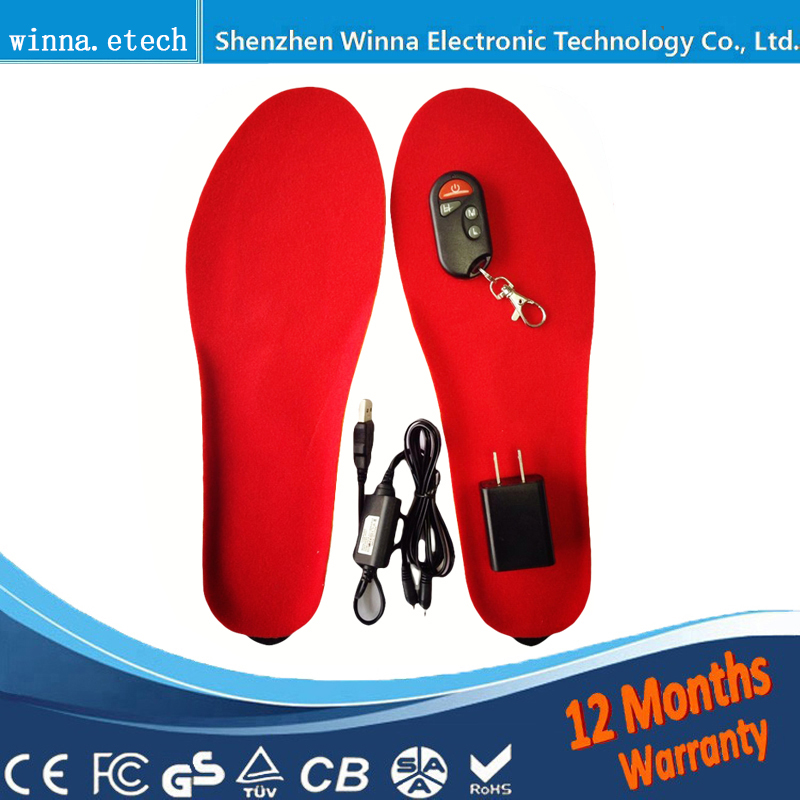 Las plantillas calefactadas eléctricas cálidas de la novedad del mejor regalo suelas para los zapatos de los hombres de las mujeres botas de invierno la plantilla gruesa con la piel tamaño EUR 35-46 #