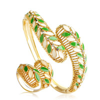 Blucome Unique Design Enamel Leaves Jewelry Sets Bangles Ring For Women Lady Hand Accessories Gold Color
