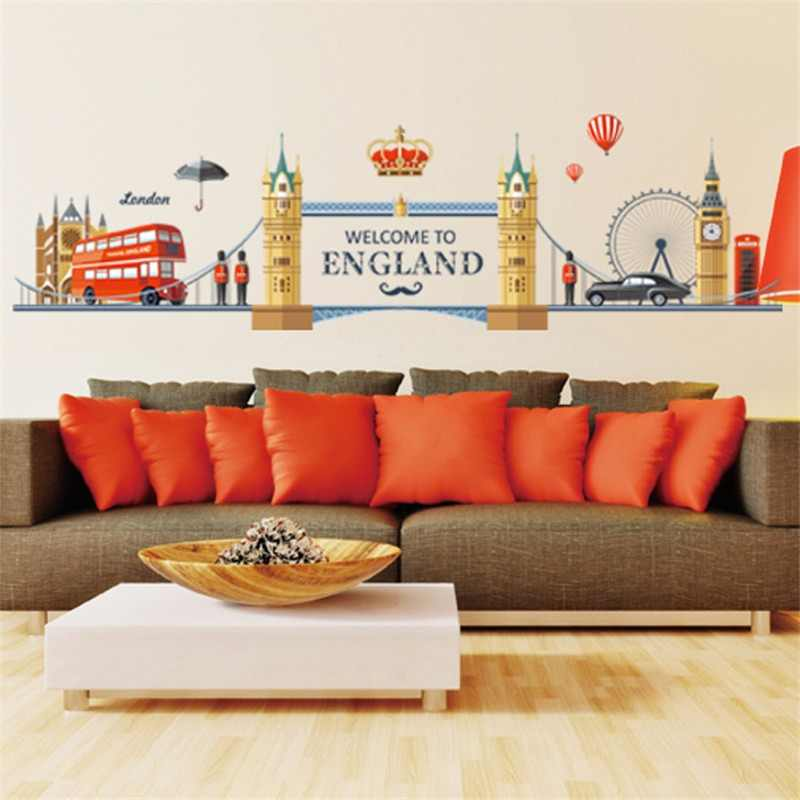 European England Style City Building Big Ben Wall Sticker I Love London Hot Air Balloon Bus Living Room Mural removable decor