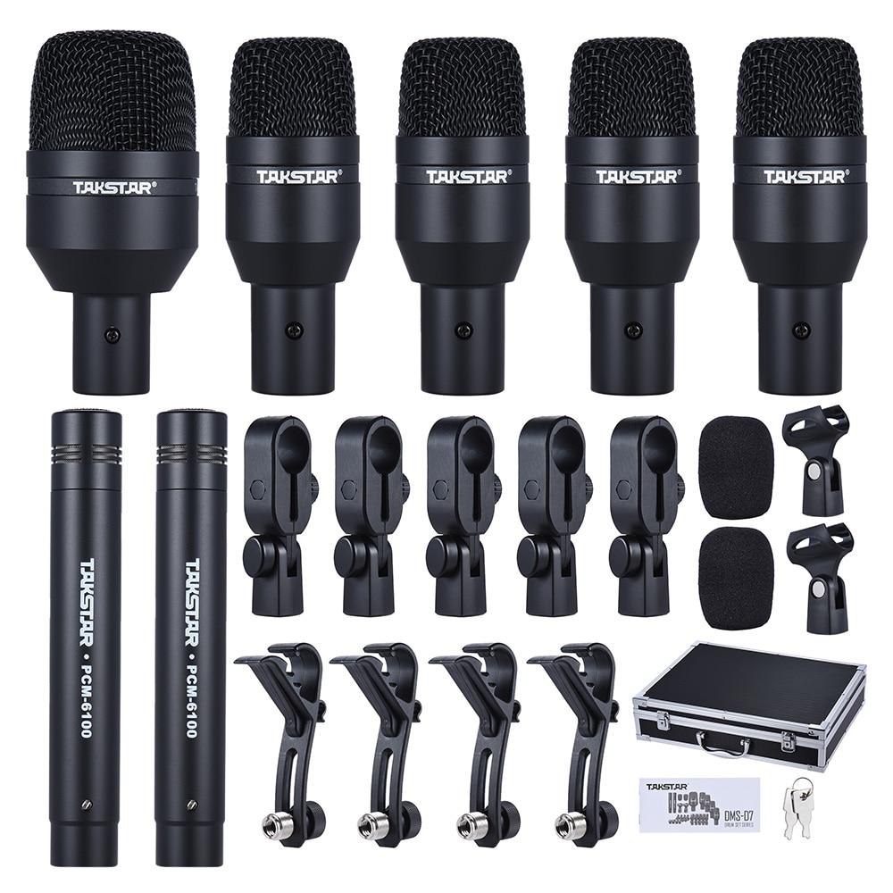 Set de batterie micro filaire Kit micro 1 grand tambour micro 4 petits micros à tambour 2 micros à condensateur avec étui de transport-in Microphones from Electronique    1