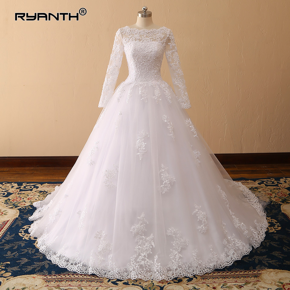 Vestido de Noiva 2019 Cheap Long Sleeves Lace Ball Gown Wedding Dress  Bohemian Robe de mariage Custom Made Bridal Gowns