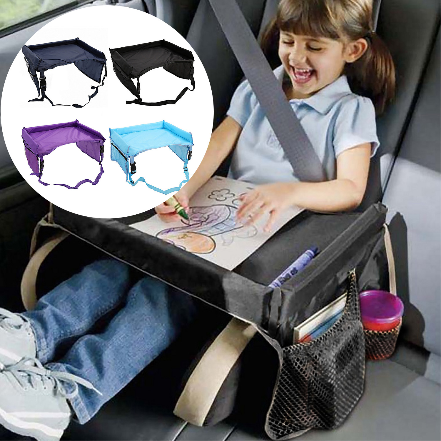 Baby Car Seat Tray Waterproof Activity Holder Desk Table Travel Tray Kids Drawing Playing Eating Car Seat Stroller Accessories