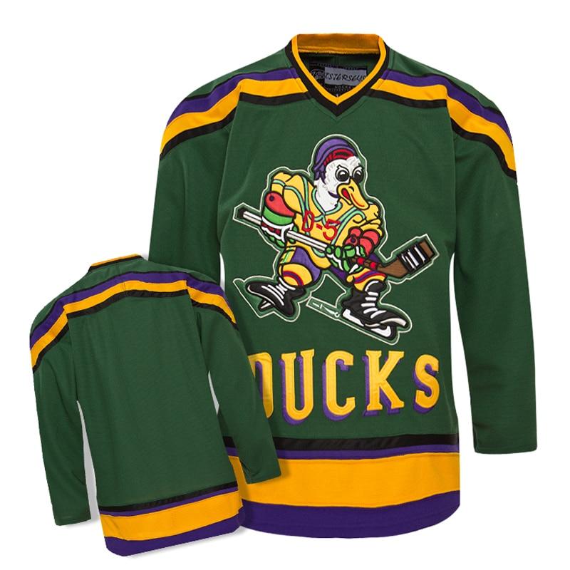 TIM VAN STEENBERGE Mighty Ducks Movie Jersey  Hockey Jersey Stitched All Sewn-Green p01700