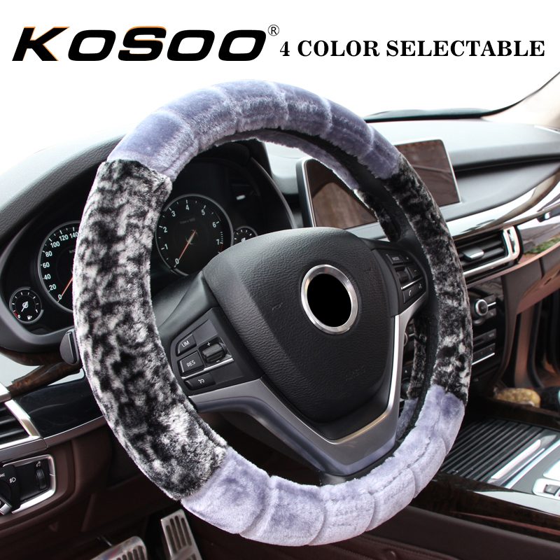 KOSOO 38CM Car Thick Plush Steering Wheel Covers Comfortable Universal Auto Interior Accessories Styling Supplies Non-slip