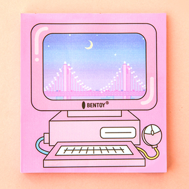 funny pc gba keyboard design creative cool bright pink memo notes 99cm paper pad