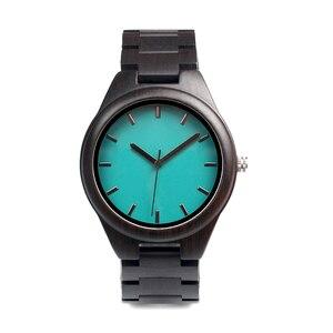 Image 3 - BOBO BIRD WI21 خشب الأبنوس ساعة رجالي العلامة التجارية الأعلى الأزرق بسيط خشبي باند كلاسيكي كوارتز ساعة اليد كهدية قبول OEM Relogio