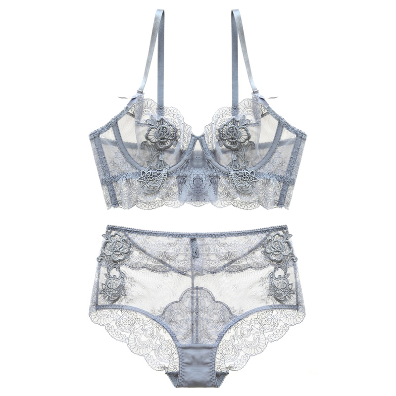 New Gather Adjusted Thin Cup Lingerie Bra Set Underwear Transparent Temptation Sexy Bra Set For Women High Waist Bra & Brief Set